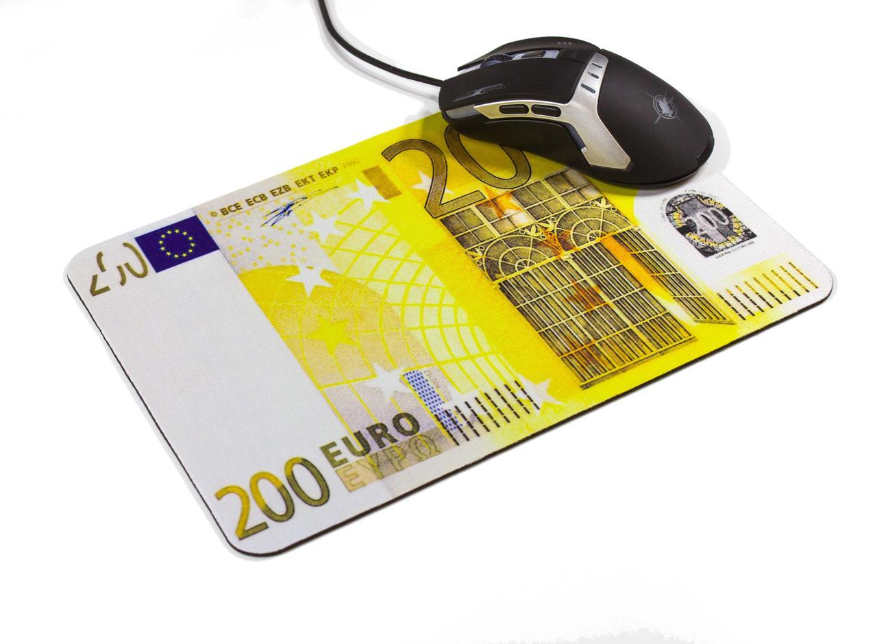 """Компьютерный игровой тканевой коврик прорезиненный для мышки с рисунком принтом """"200 евро"""" (20см х 28см)"""