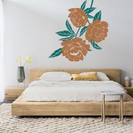 Интерьерная виниловая наклейка на стену Три пиона (цветущая ветка, большие цветы)