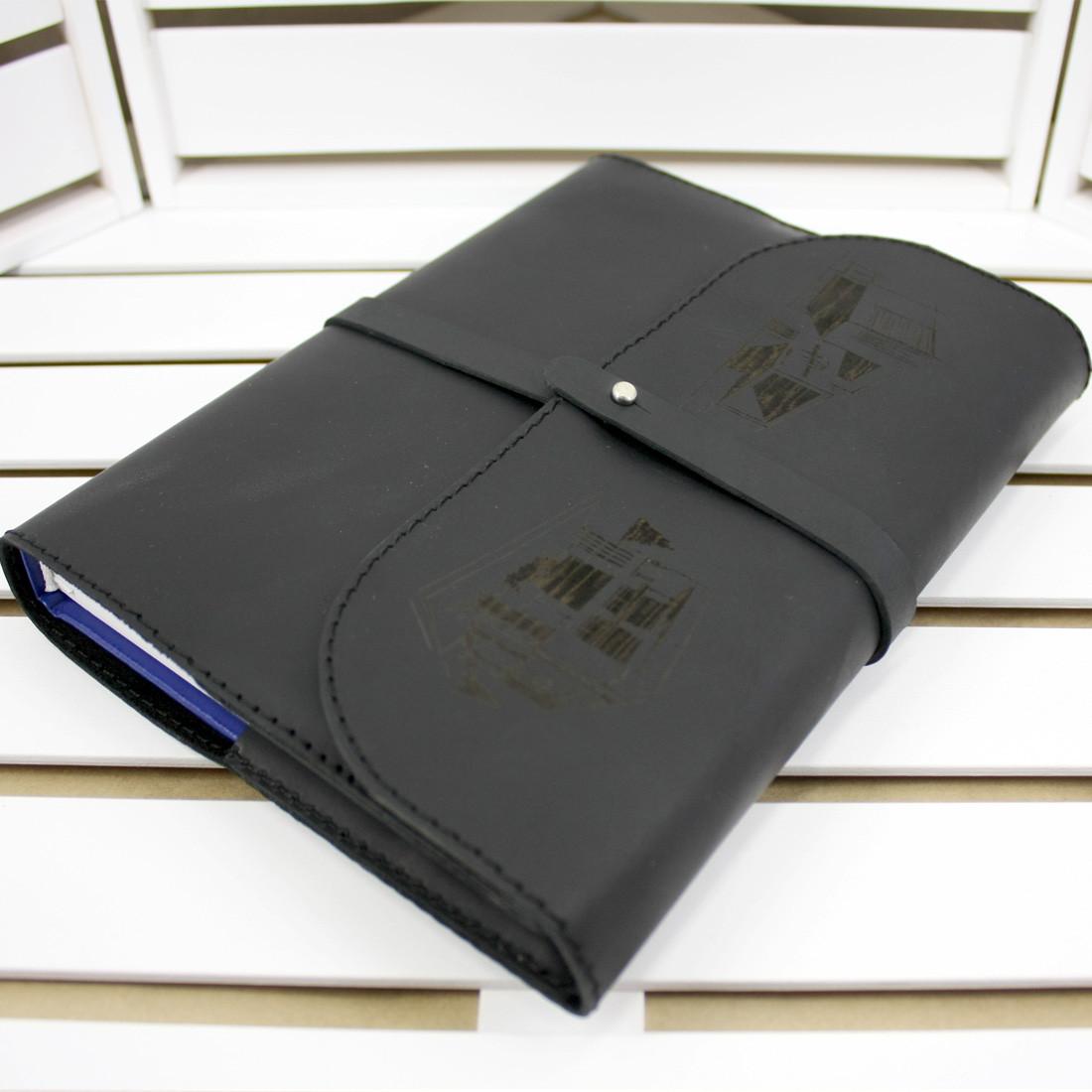 Кожаный Ежедневник M (А5). Натуральная кожа, Лазерная гравировка, Сменный блок бумаги.