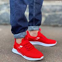Кроссовки-носки красные мужские легкие текстильные на белой подошве со шнуровкой