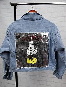 Стильная джинсовая куртка с принтом Микки 42-46 р