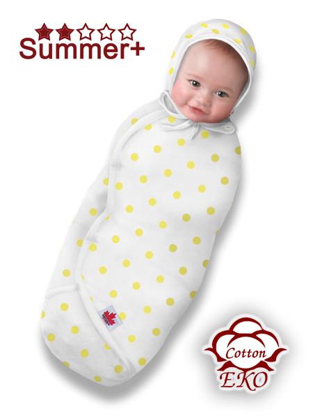 """Пеленка-кокон на липучке для новорожденного """"Желтый горошек"""" - Ontario Baby (DS3/Summer+)"""