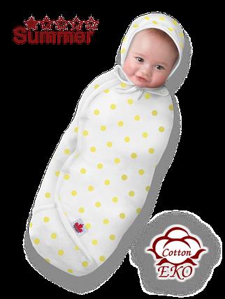 """Пеленка-кокон на липучке для новорожденного """"Желтый горошек"""" - Ontario Baby (DS3/Summer), фото 2"""