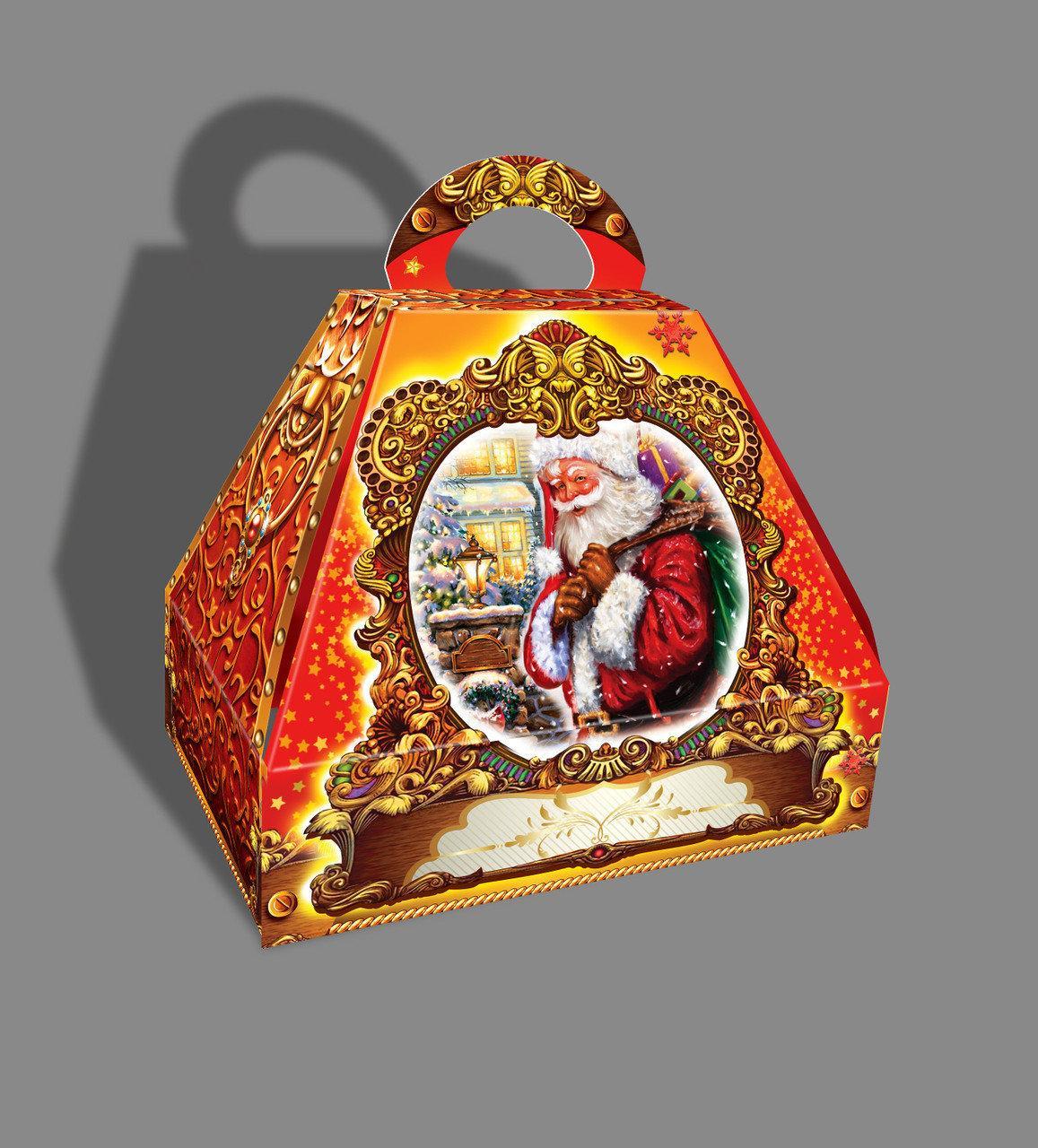 Упаковка новогодняя из картона Саквояж Санта Клаус мелким оптом, на вес до 1500г
