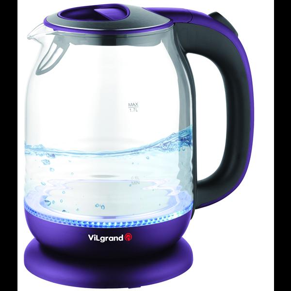 Электрический стеклянный чайник ViLgrand VL5172GK 1.7 л 2000 Вт LED-подсветка Фиолетовый (34-45939)
