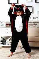 Кигуруми детская Kigurumba Летучая мышь XS - рост 95 - 105 см Черный с белым K0W1-0033-XS, КОД: 1776875