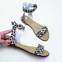 Красивые босоножки сандалии женские и подростковые натуральные кожаные светлый лео, размер 34-42