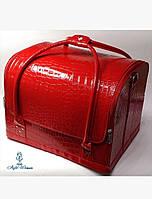 Бьюти кейс чемодан для мастера салонов красоты из кожзама на змейке красный кроко классика