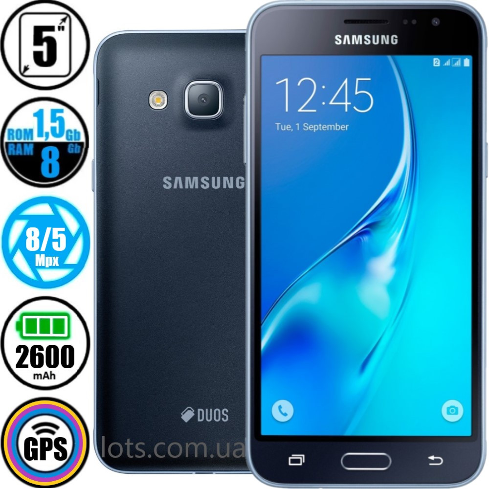 Смартфон Samsung Galaxy J3 J320H Black - Оригинал + Подарок Защитное Стекло