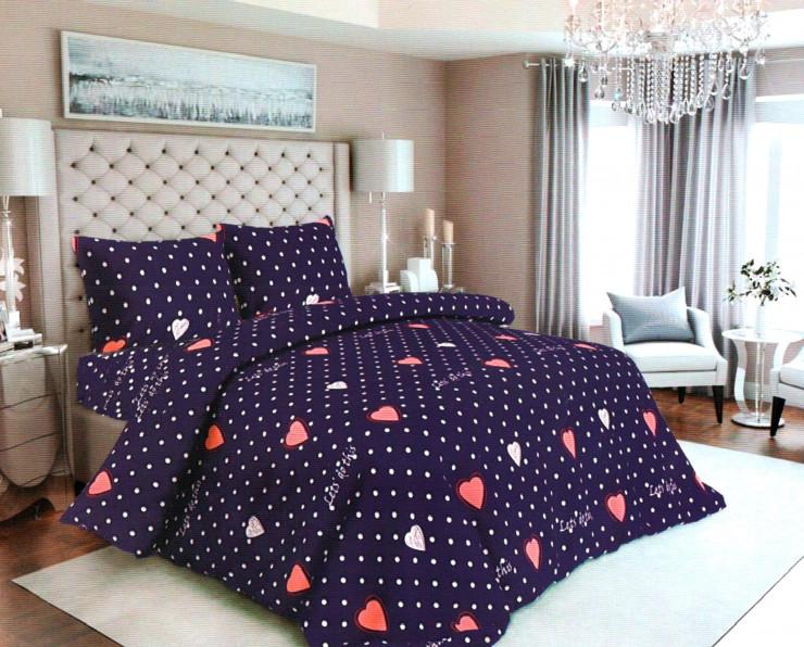 Комплект постельного белья Сердечки Бязь Gold Евро размер 200 х 215 см.постельное бельё