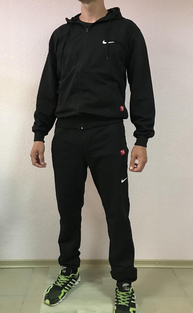 Мужской спортивный трикотажный костюм Nike размеры 48-54 норма на манжете ростовка чёрный