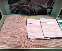 Набор постельного белья Gelin Home YAPRAK евро, 220x240, pudra/Пудра