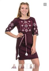 Плаття в українському стилі бордо