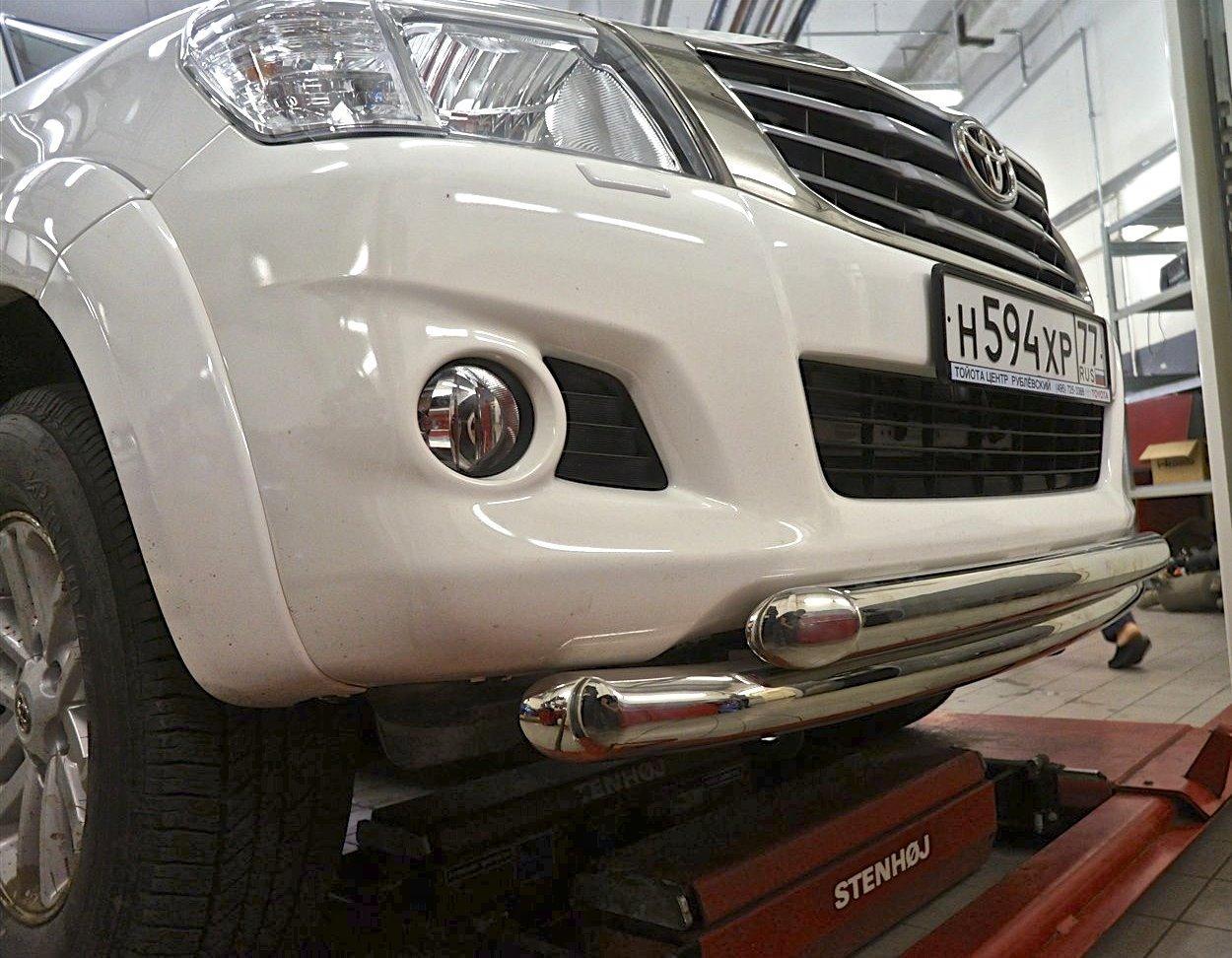 Защита переднего бампера двойная Can Oto для Toyota Hilux 2012-2015