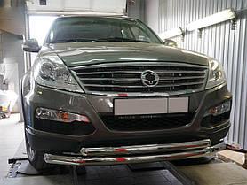 Защита переднего бампера Ssang Yong Rexton (2007-2012 / 2012-) (двойная) d 70/60