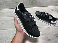 Мужские кроссовки кеды Adidas Stan Smith на липучках черные