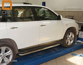 Пороги нержавеющая труба с листом Can Oto для Toyota Highlander 2010-2013