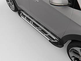 Пороги подножки площадка Sapphire V2 Silver для Toyota Highlander 2010-2014