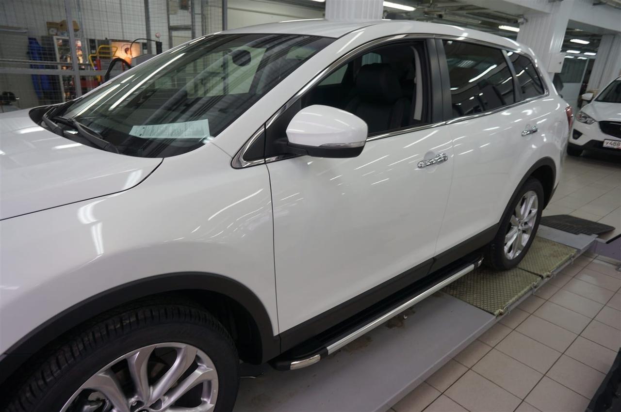 Пороги подножки боковые Can Oto Brillant Black для Subaru Forester 2009-2013