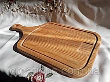 Доска разделочная 45х30 см. деревянная клееная с ручкой, доска для подачи, (ясень, дуб) РД-4