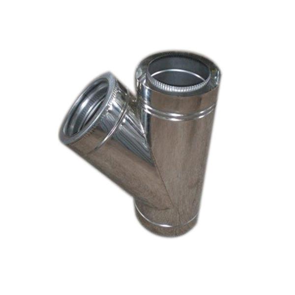Тройник 45° двустенный из нержавеющей стали (0,6 мм.) в оцинкованном кожухе