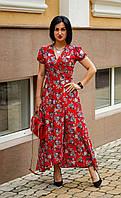 Платье с цветочным принтом красное, фото 1