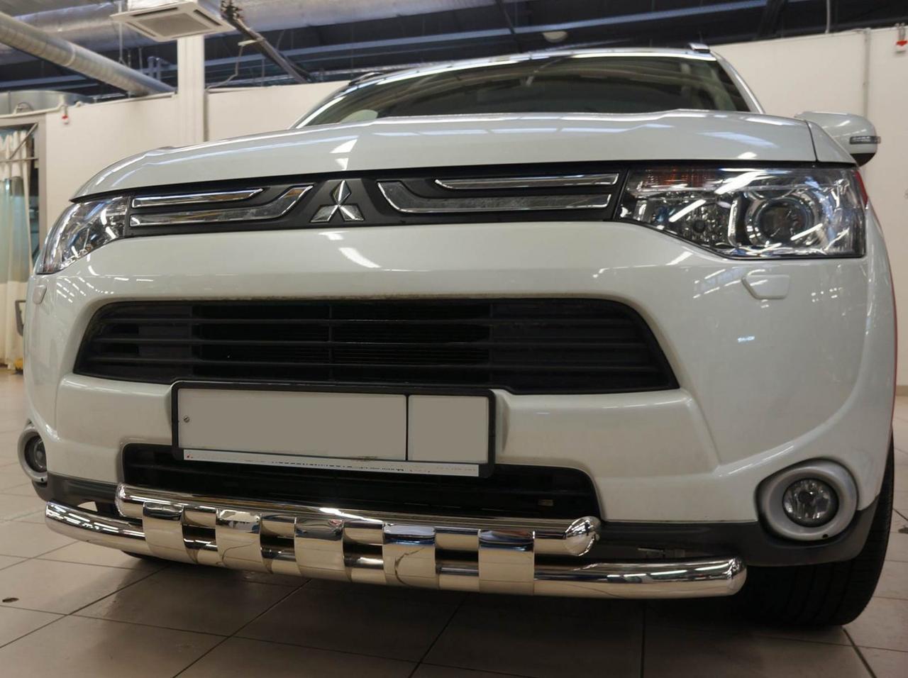 Защита переднего бампера двойная с зубьями для Mitsubishi Outlander 2012+