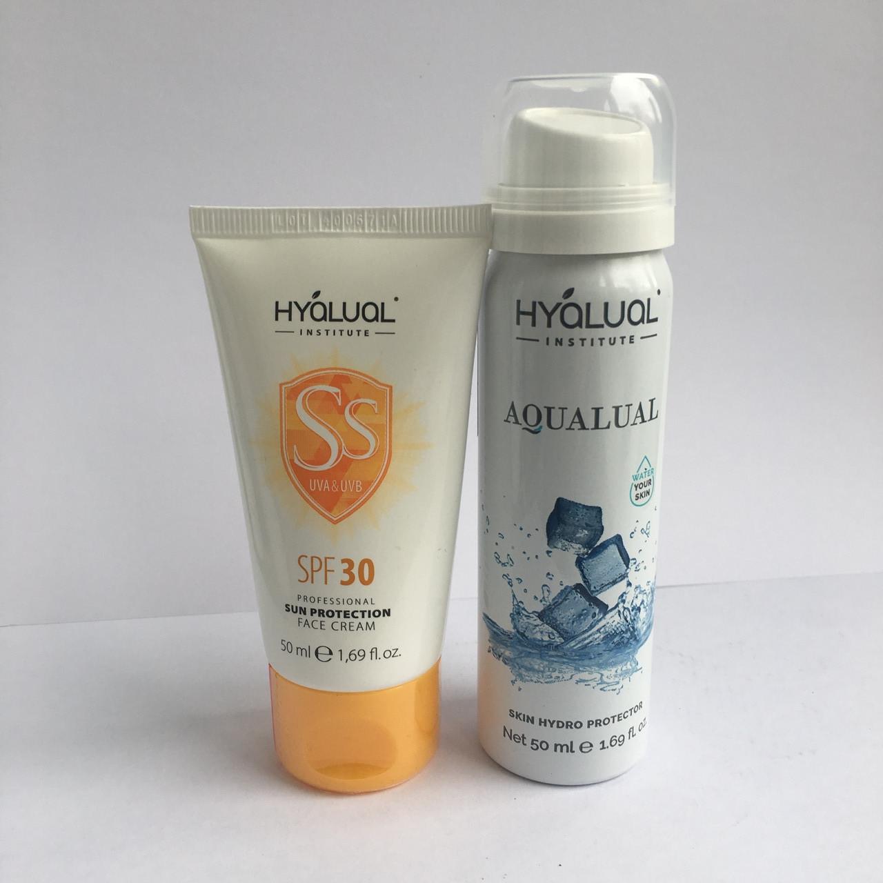 Набор:защитный крем Гиалуаль СПФ30 и спрей Аквалуаль 50мл
