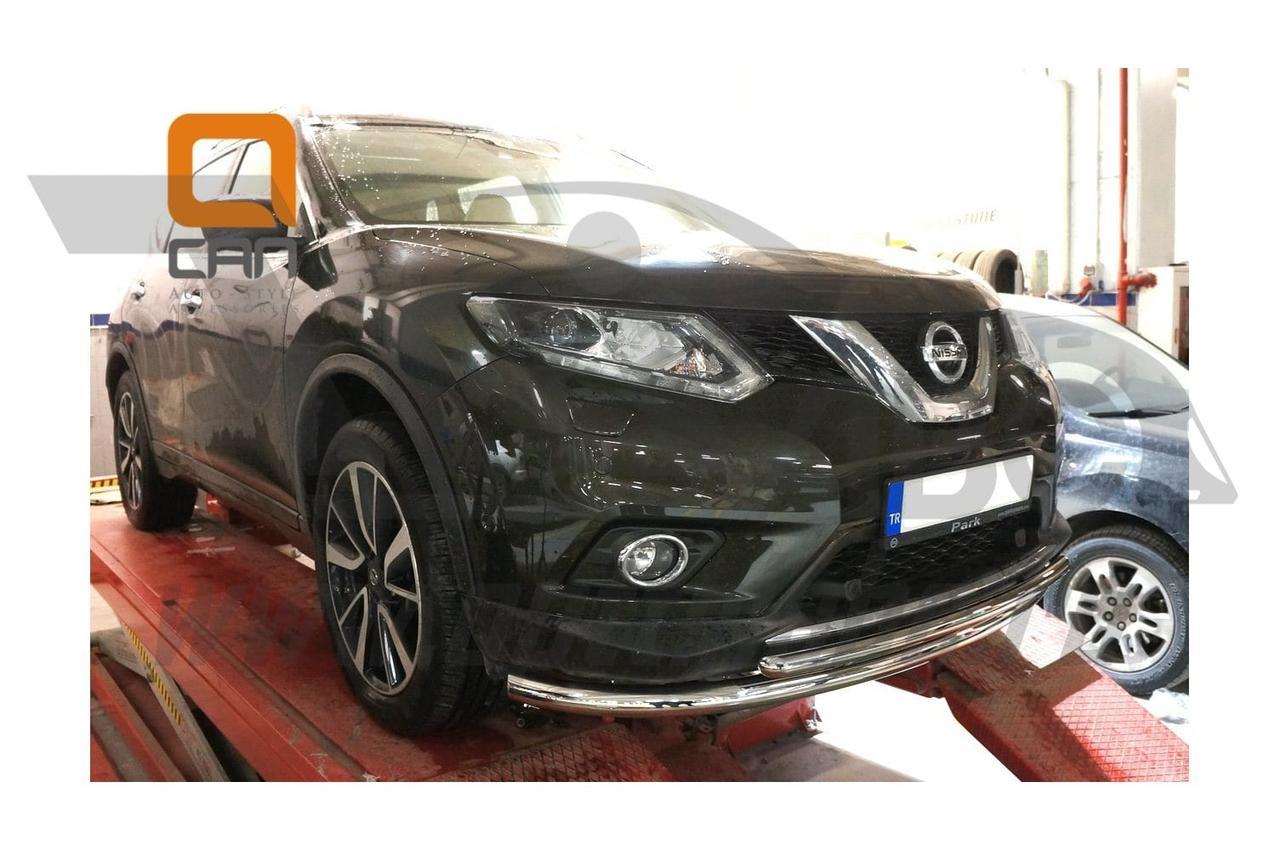Защита переднего бампера Nissan X-Trail (2014-) (двойная)