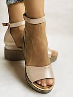 Хіт! Модні жіночі босоніжки на середній танкетці.Пудра.Натуральна шкіра.Туреччина. Розмір 39. 40. Vellena, фото 2