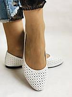 Женские туфли -балетки из натуральной кожи Белый.Размер 36 37 38 39 40 Mario Muzi, фото 2