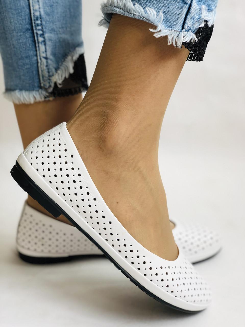 Женские туфли -балетки из натуральной кожи Белый.Размер 36 37 38 39 40 Mario Muzi