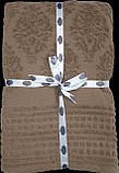Турецкая махровая хлопковая простынь  Tм Zeron Dewken коричневая, фото 2
