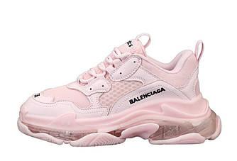 Кроссовки женские Balenciaga  Triple S многослойная подошва, розовые 12107