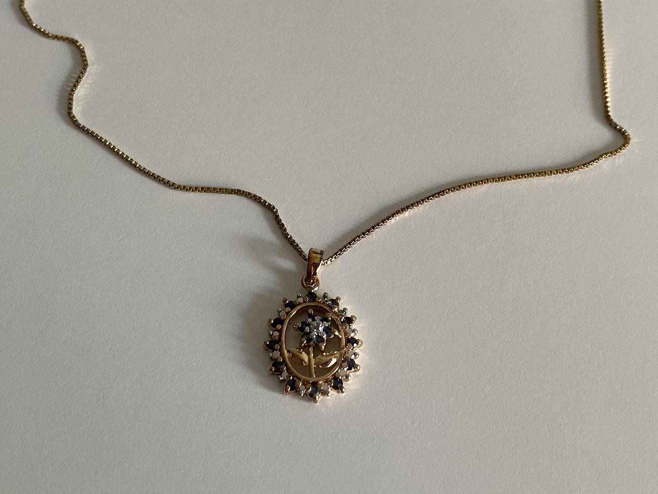 Серебряная цепочка с кулоном в позолоте с сапфирами