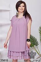 Воздушное платье из шифона, подол из нескольких ярусов с 50 по 56 размер