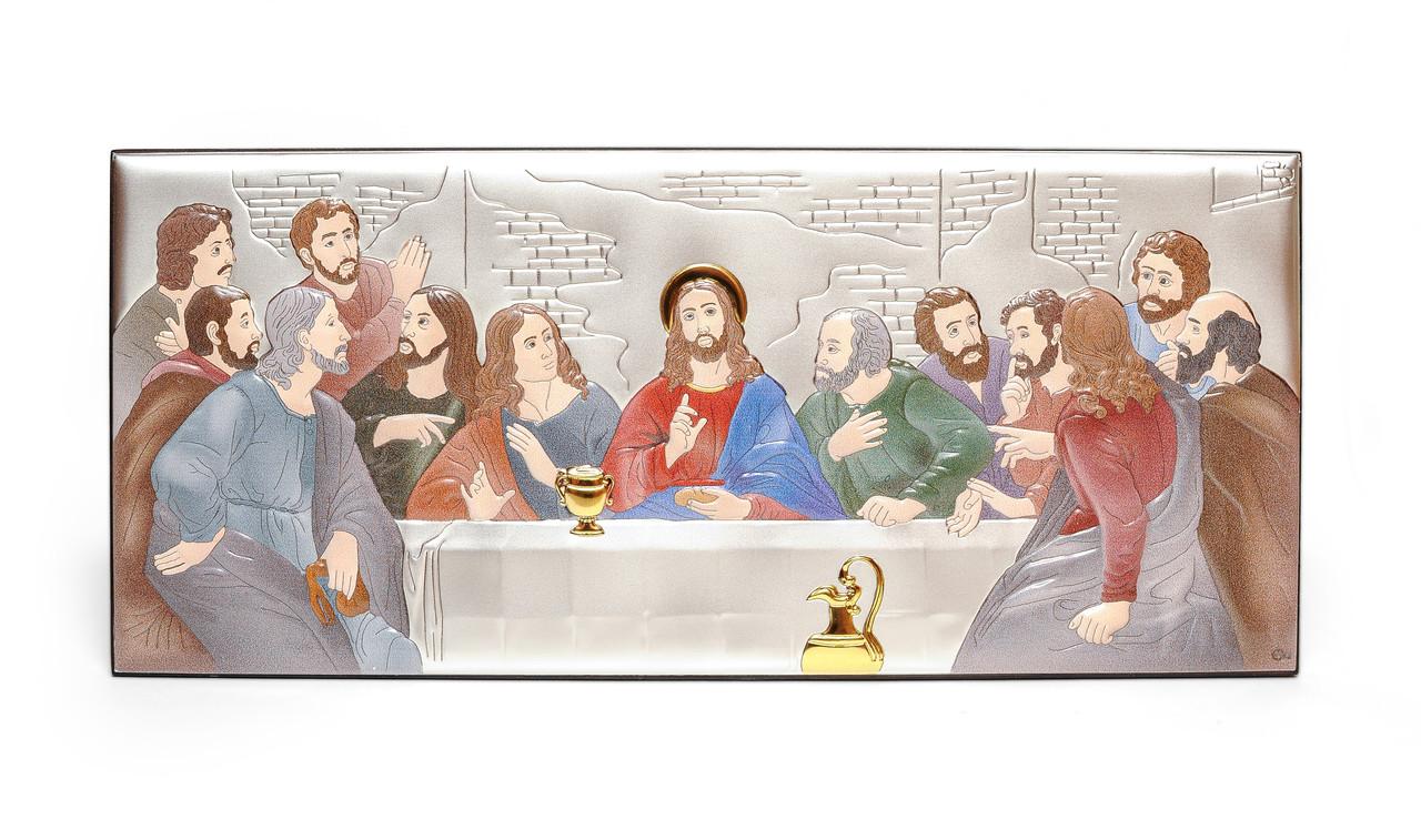 Тайная Вечеря 38,5х17см Серебряная Икона украшена Разноцвеной Эмалью