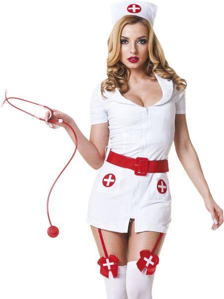 Костюм медсестры белый с красным поясом, 3 предмета S/M
