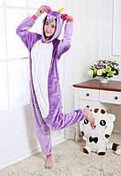 Детская пижама Кигуруми Единорог фиолетовый S (на рост 148-158см)