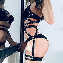 Соблазнительный комплект портупея + гартеры женские из PU кожы, фото 3