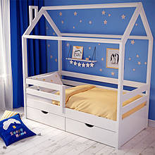 Кроватка домик деревянная Sleepy Home 160*80 / 200*90 см с ящиками