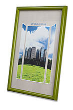 Рамка 10х15 из пластика - Зелёный салатовый - со стеклом