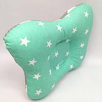 Подушка ортопедическая типа бабочка для новорожденных Sindbaby из ткани Серая с зеленым звезда