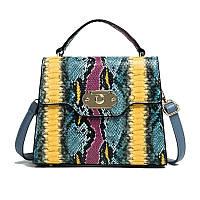 Модная женская сумка. Сумка женская стильная со змеиным принтом. Сумочка женская из экокожи (голубая)