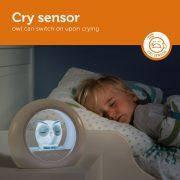 Детский ночник со звуковой активацией Совенок Lou ТМ Zazu серый, фото 2