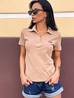 Женская футболка поло (нюдовый, чёрный, белый, желтый, красный, 42,44,46,48), фото 1
