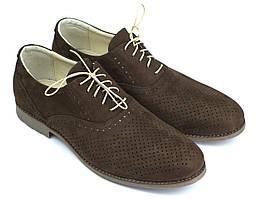Взуття великих розмірів чоловіча літні м'які коричневі туфлі нубук Rosso Avangard BS Romano Brown Arena Nub