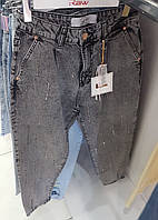 Женские турецкие джинсы RAW с высокой посадкой темно-серого цвета со стразами, модель SLOUCHY FIT