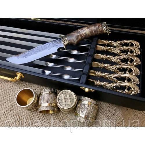 """Набор для шашлыка """"Гранд-2"""" в кейсе (шампура, 4 рюмки, нож)"""