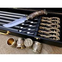 """Набор для шашлыка """"Гранд-2"""" в кейсе (шампура, 4 рюмки, нож), фото 1"""